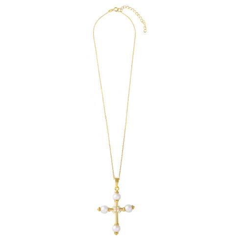 Wholesale 925 Wholesale Sterling Silver 925 Gold Plated Cross with Synthetic Pearl Necklace - BGP01098