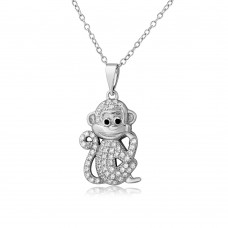Sterling Silver Rhodium Plated CZ Monkey Necklace - BGP01100