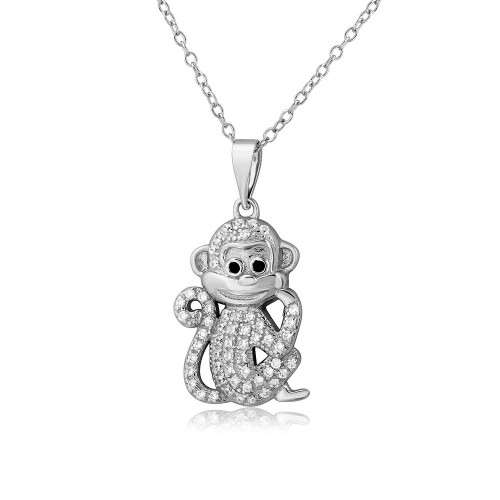 Wholesale Sterling Silver 925 Rhodium Plated CZ Monkey Necklace - BGP01100