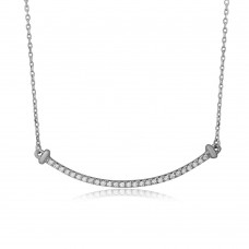 Wholesale Sterling Silver 925 Rhodium Plated CZ Curve Line Necklace - BGP01103RHD