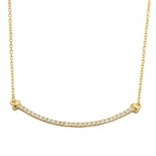 Wholesale Sterling Silver 925 Gold Plated Curved CZ Bar Necklace - BGP01103GP