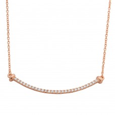 Wholesale Sterling Silver 925 Rose Gold Plated Curved CZ Bar Necklace - BGP01103RGP