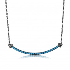 Wholesale Sterling Silver 925 Black Rhodium Plated Line Turquoise Stone Necklace - BGP01103TQ