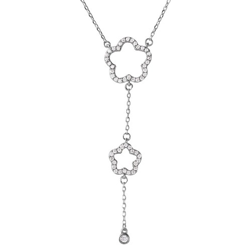 Wholesale Sterling Silver 925 Rhodium Plated Double Open CZ Clover Drop Necklace - BGP01104