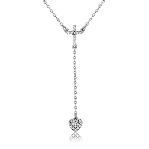 Wholesale Sterling Silver 925 Rhodium Plated Cross with Hanging Heart Necklace - BGP01105