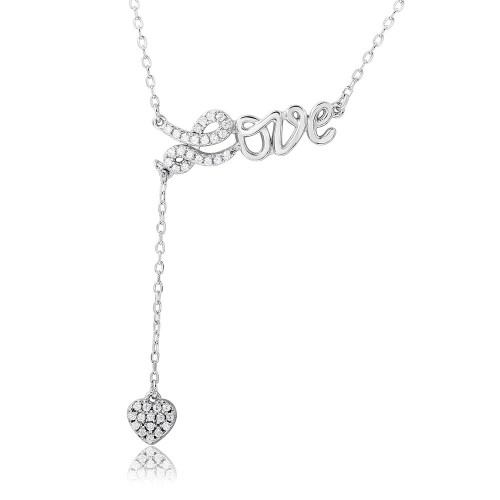 Wholesale Sterling Silver 925 Rhodium Plated CZ Love with Hanging Heart Necklace - BGP01107