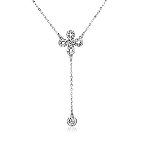 Wholesale Sterling Silver 925 Rhodium Plated Infinity Sign with Hanging CZ Necklace - BGP01108