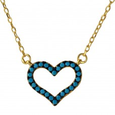 Wholesale Sterling Silver 925 Gold Plated Open Heart Turquoise Stones Necklace - BGP01110