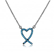 Wholesale Sterling Silver 925 Black Rhodium Open Heart Necklace with Turquoise Stones - BGP01111
