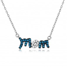 Wholesale Sterling Silver 925 Rhodium Plated Turquoise and CZ Stones Mom Necklace - BGP01112