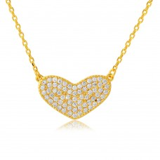Wholesale Sterling Silver 925 Gold Plated CZ Encrusted Heart Necklace - BGP01114