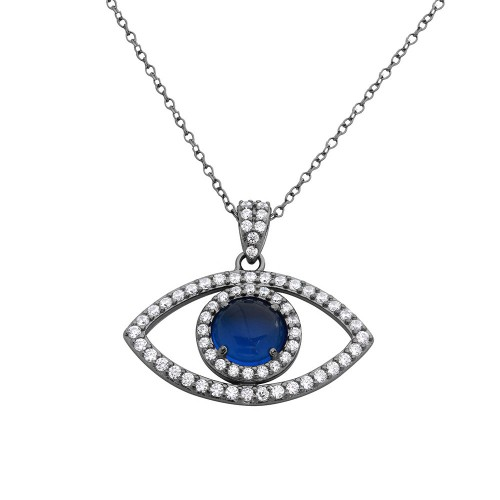 Wholesale Sterling Silver 925 Black Rhodium Plated Evil Eye Necklace - BGP01115