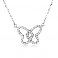 Sterling Silver Rhodium Plated Open CZ Butterfly Necklace - BGP01116