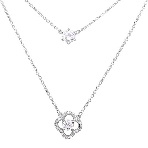 Sterling Silver Rhodium Plated Double Chain CZ And Open Flower Necklace - BGP01118