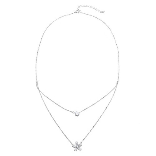 Wholesale Sterling Silver 925 Rhodium Plated Double Chain CZ and Hibiscus Flower Necklace - BGP01119