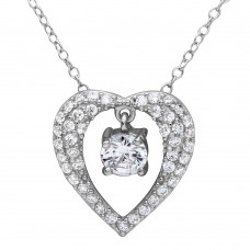 Wholesale Sterling Silver 925 Rhodium Plated Open Heart Necklace with Hanging Stone - BGP01121