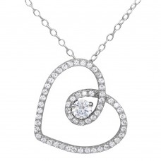 Wholesale Sterling Silver 925 Rhodium Plated CZ Open Script Heart Necklace - BGP01122