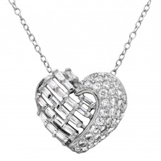 Wholesale Sterling Silver 925 Rhodium Plated 2 Sided Baguette CZ Stones Heart Necklace - BGP01123