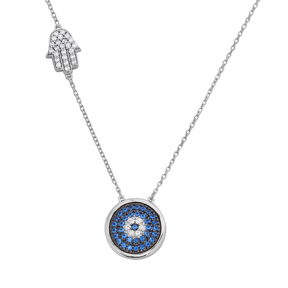 Wholesale Sterling Silver 925 Rhodium Plated Evil Eye Necklace with CZ Hamsa Hand - BGP01125