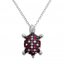 Sterling Silver Rhodium Plated Pink And Clear CZ Turtle Necklace - BGP01126