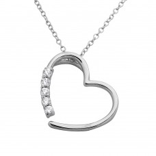 Wholesale Sterling Silver 925 Rhodium Plated Open CZ Heart Necklace - BGP01128