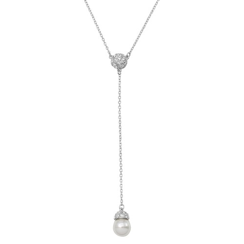 Wholesale Sterling Silver 925 Rhodium Plated CZ Drop Synthetic Pearl Necklace - BGP01132