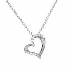 Wholesale Sterling Silver 925 Rhodium Plated Open Heart CZ Necklace - BGP01133