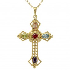 Wholesale Sterling Silver 925 Gold Plated Multi Color CZ Cross Necklace - BGP01134