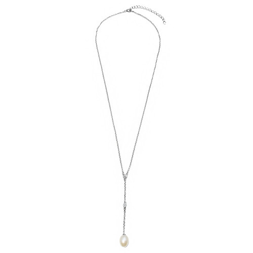 Wholesale Sterling Silver 925 Rhodium Plated CZ Drop Fresh Water Pearl Necklace - BGP01138