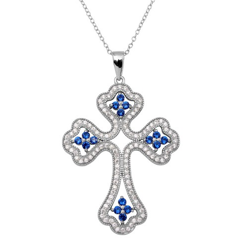 Wholesale Sterling Silver 925 Rhodium Plated Clear and Blue CZ Encrusted Open Cross Necklace - BGP01141BLU