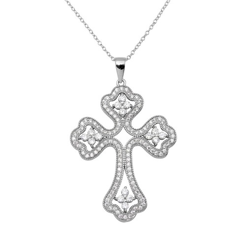 Wholesale Sterling Silver 925 Rhodium Plated CZ Encrusted Open Cross Necklace - BGP01141CLR