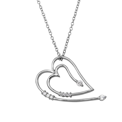 Wholesale Sterling Silver 925 Rhodium Plated Heart CZ Necklace - BGP01142