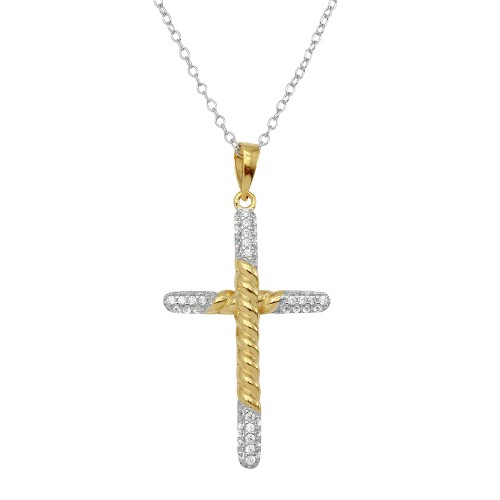 Wholesale Sterling Silver 925 2 Toned Rope Cross Necklace with CZ Stones - BGP01143