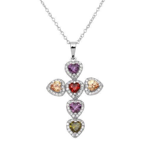 Wholesale Sterling Silver 925 Rhodium Plated Multi CZ Heart Cross Necklace - BGP01144