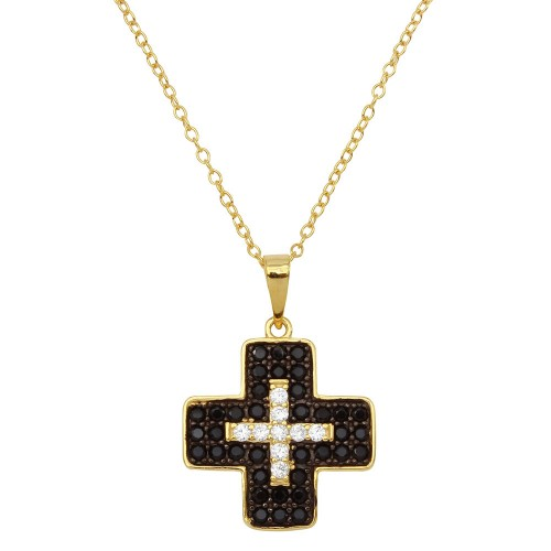 Wholesale Sterling Silver 925 Gold Plated Black and Clear CZ Cross Necklace - BGP01146