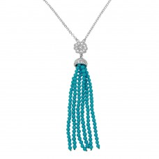 Sterling Silver Rhodium Plated Flower Centered Turquoise Beads Strands Necklace - BGP01147