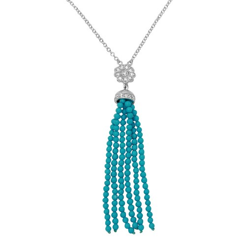 Wholesale Sterling Silver 925 Rhodium Plated Flower Centered Turquoise Beads Strands Necklace - BGP01147