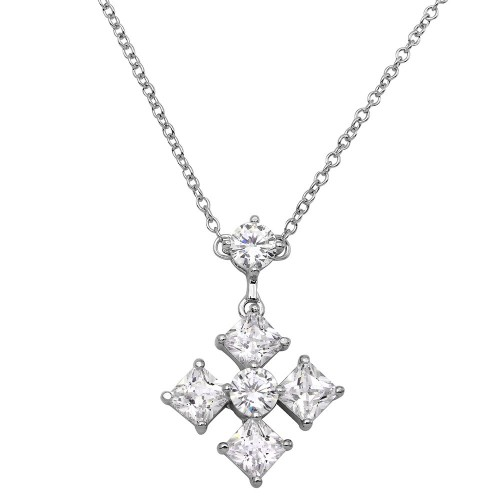 Wholesale Sterling Silver 925 Rhodium Plated CZ Cross Necklace - BGP01148