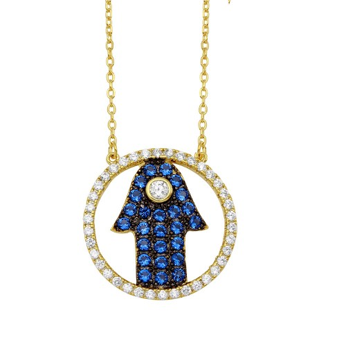 Wholesale Sterling Silver 925 Gold Plated Open Circle with Blue CZ Hamsa Hand Necklace - BGP01149