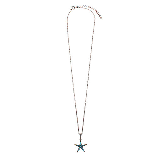 Wholesale Sterling Silver 925 Black Rhodium Plated Starfish Turquoise Stone Necklace - BGP01151