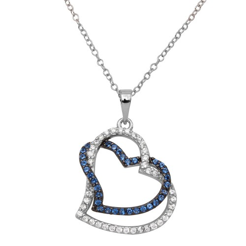 Wholesale Sterling Silver 925 Rhodium Plated Double Open Heart CZ Necklace - BGP01152