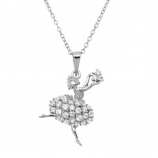 Sterling Silver Rhodium Plated Ballerina CZ Necklace - BGP01153