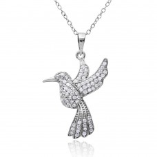 Sterling Silver Rhodium Plated CZ Mockingbird Necklace - BGP01155