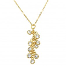 Sterling Silver Gold Plated Multi CZ Drop Necklace - BGP01156GP
