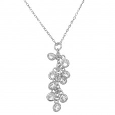 Wholesale Sterling Silver 925 Rhodium Plated Multi CZ Drop Necklace - BGP01156RHD