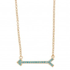 Wholesale Sterling Silver 925 Gold Arrow Necklace with Turquoise Stones - BGP01157GP