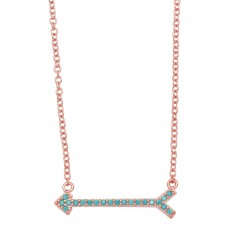 Wholesale Sterling Silver 925 Rose Gold Arrow Necklace with Turquoise Stones - BGP01157RGP