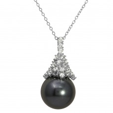 Sterling Silver Rhodium Plated Synthetic Black Pearl with CZ Necklace - BGP01158