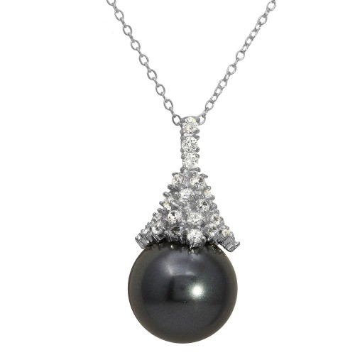 Wholesale Sterling Silver 925 Rhodium Plated Synthetic Black Pearl with CZ Necklace - BGP01158