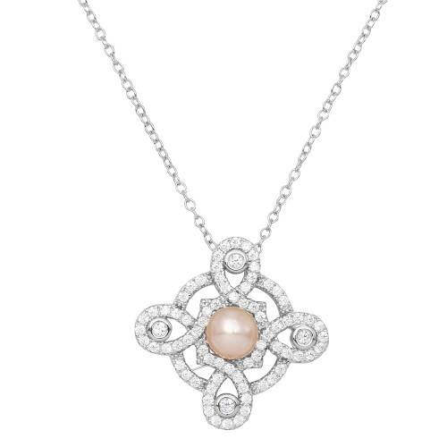Wholesale Sterling Silver 925 Rhodium Plated CZ Encrusted Outline Cross with Fresh Water Pearl Necklace - BGP01159